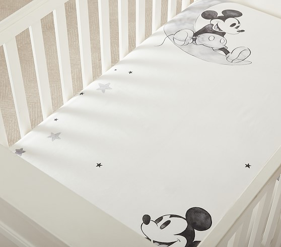 Disney Mickey Mouse Organic Picture Perfect Crib Fitted Sheet Pottery Barn Kids