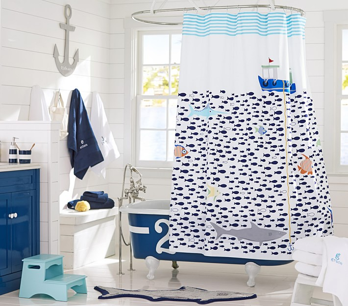 Sea Kids Shower Curtain Pottery Barn, Boy Bathroom Shower Curtains