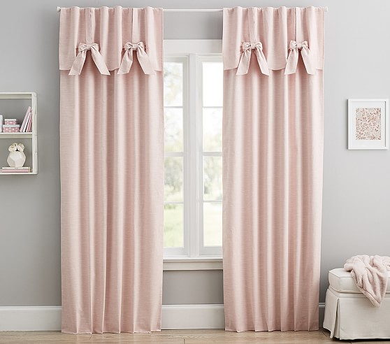 Nursery Curtains with bows for Babies /& Toddler/'s Window Bedroom Dots Grey