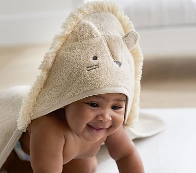 Super Soft Lion Baby Hooded Towel & Wash Cloth, Yellow