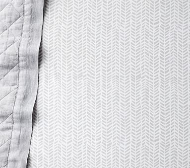 Baby Chevron Sateen Crib Fitted Sheet, Gray