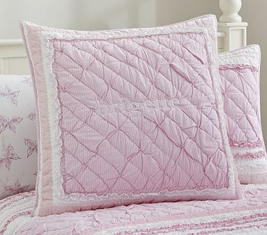 """Details about  /Pottery Barn Kids /""""Purple Flowers//Dragonflies/"""" Euro Quilted Sham"""