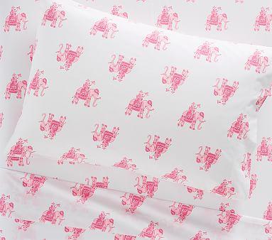 Pottery Barn Kids Lilly Pulitzer Elephant Bazaar Organic QUEEN Sheet Set Pink