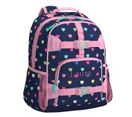 포터리반 하트 가방 (초등 선물 추천)  Potterybarn Navy Pink Multi Hearts Kids Backpack