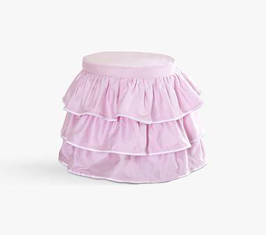 Madeline Stool with Cushion, Pink Ruffle