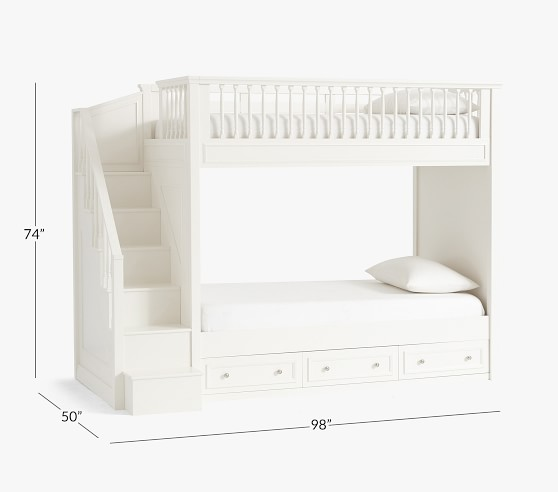 Fillmore Twin Over Twin Stair Bunk Bed Pottery Barn Kids