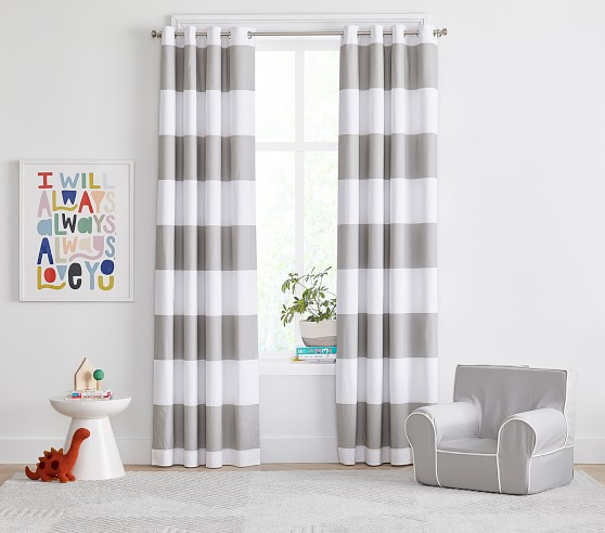 Preppy Rugby Stripe Blackout Curtain, Rugby Stripe Curtains