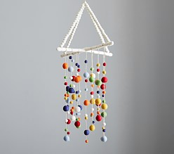 Primary Colours Felted Pom Pom Hanging Ceiling Mobile